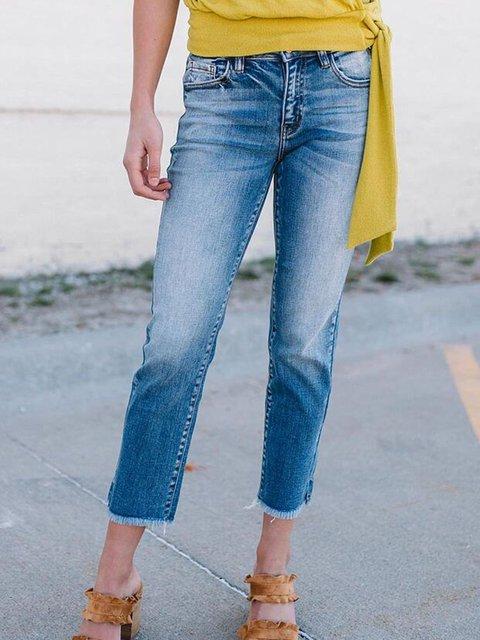 Blue Pockets Denim Casual Capri Jeans