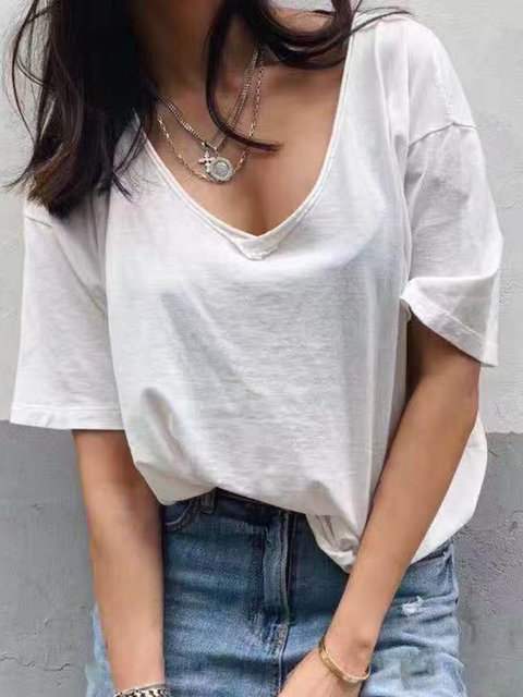 Plus Size V-Neck Short Sleeves Casual T-Shirts