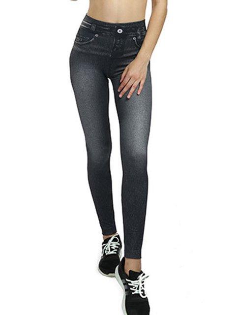 Explosion pockets short velvet corset imitation denim leggings seamless Leggings