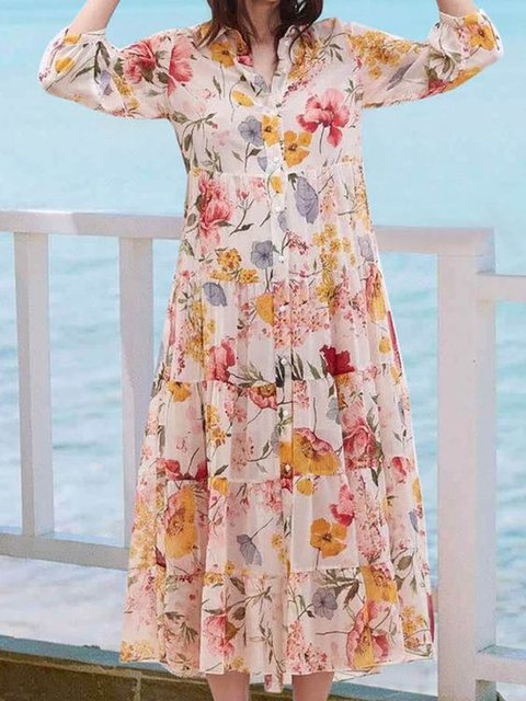 Printed Paneled Shirt Collar Women Dresses Going Out Cotton Floral Dresses