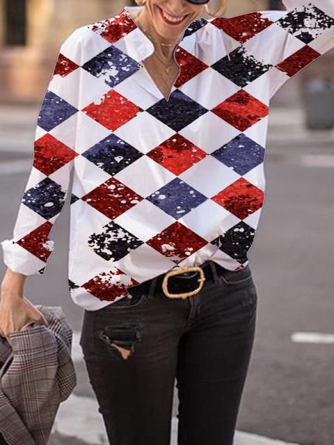 White Shirt Collar Long Sleeve Geometric Printed Shirts Tops