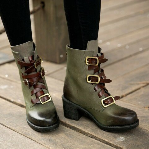 Plus Size Vintage Chunky Heel Leather Buckles Round Toe Boots