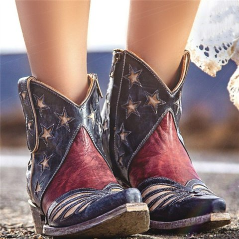 Women Vintage Star Lip On Boot Shoes