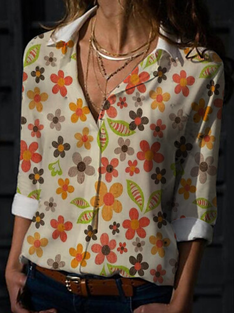 White Long Sleeve Floral-Print Shirts Tops