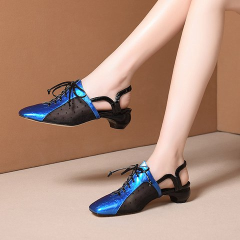 Stylish Genuine Leather Square Toe Special Heel Sandals