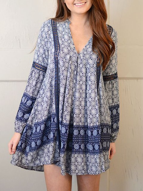 Tribal V Neck Women Dresses Going Out Cotton Printed Dresses