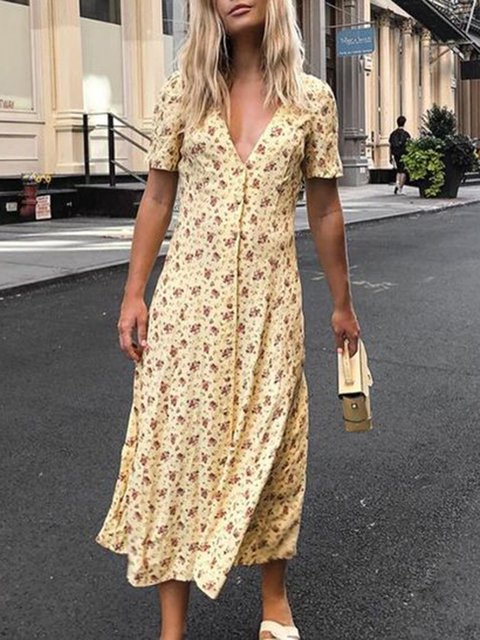 Printed Floral V Neck Women Dresses Going Out Buttoned Dresses