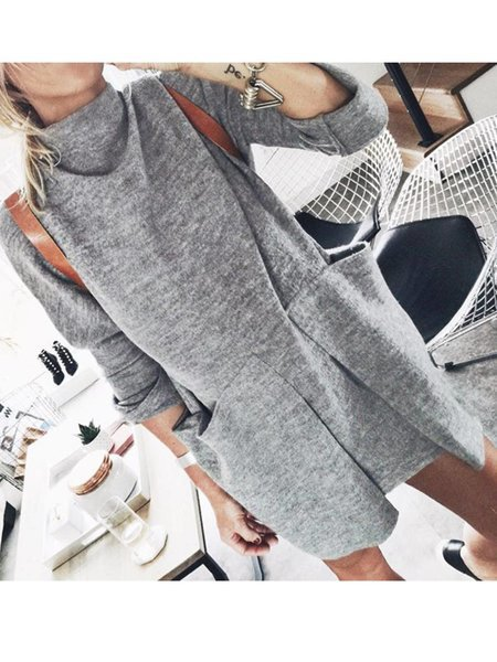 Plain Long Sleeve Turtleneck Dresses
