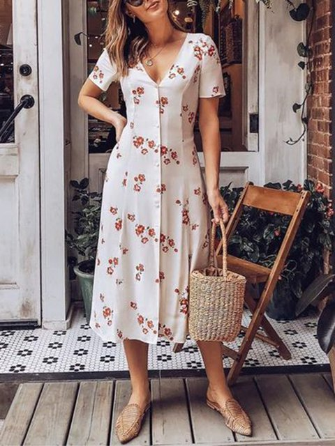 Floral V Neck Women Dresses Going Out Cotton Printed Dresses
