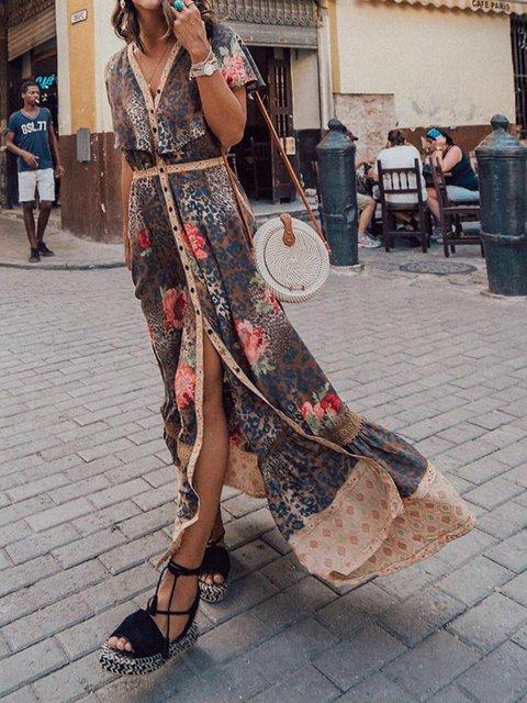 Plus Size Maxi Short Sleeve Boho Floral Dresses