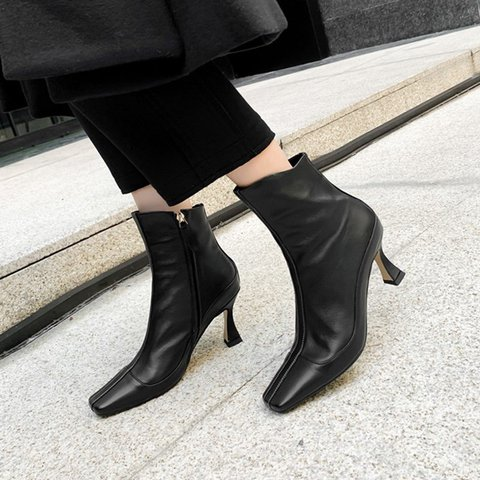 Stylish Genuine Leather Square Toe Kitten Heel Boots