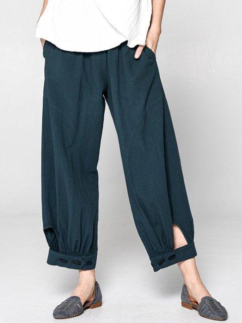 Natural Daytime Vintage Plain Casual  Pants