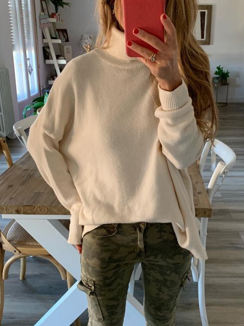 Beige Solid Casual Knitted Turtleneck Shirts & Tops