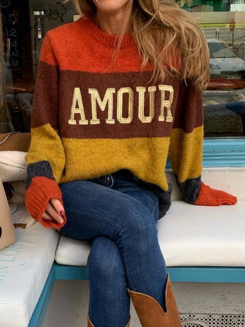 Red Knitted Casual Ombre/tie-Dye Shirts & Tops