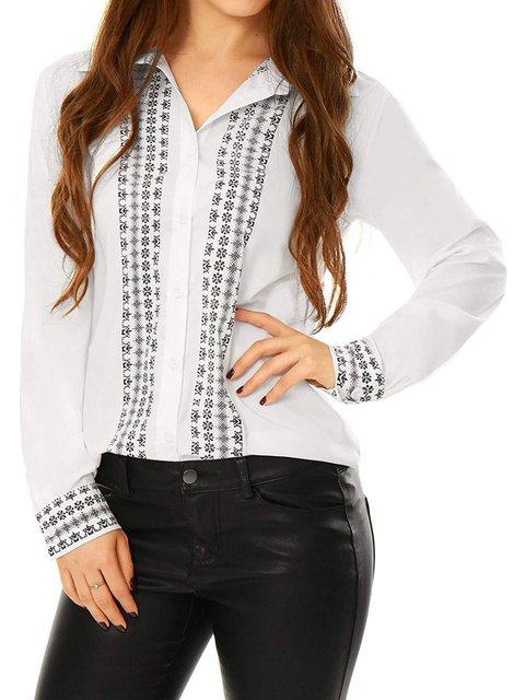 Plain Long Sleeve Basic Shirt Collar Shirts & Tops