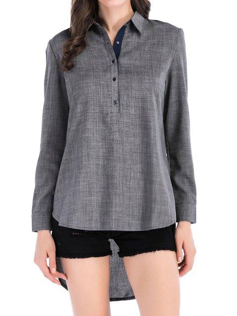 Long Sleeve Plain Basic Shirts & Tops