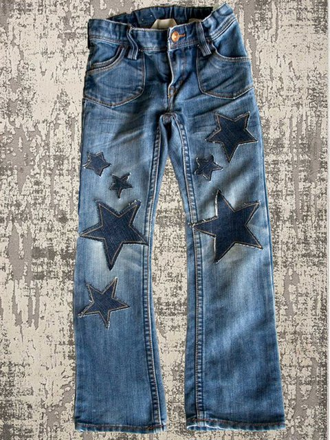 Women's  Casual Denim Star Loose Trousers