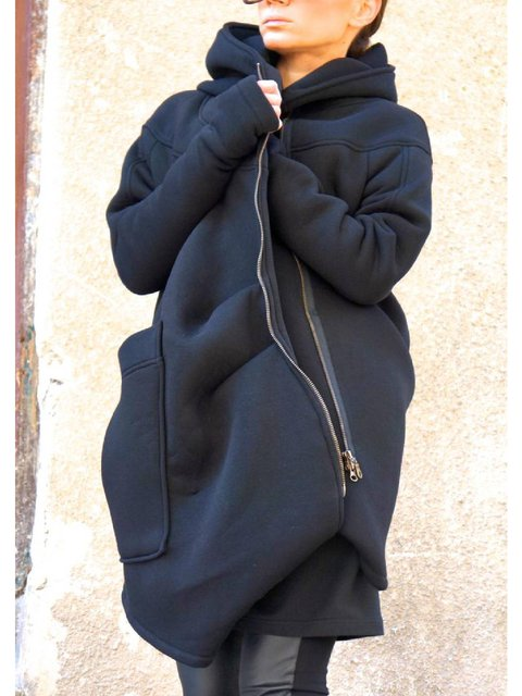 Navy Blue Cotton-Blend Hoodie Long Sleeve Zipper Outerwear