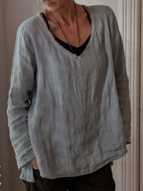 Casual V Neck Cotton Plain Shirts & Tops