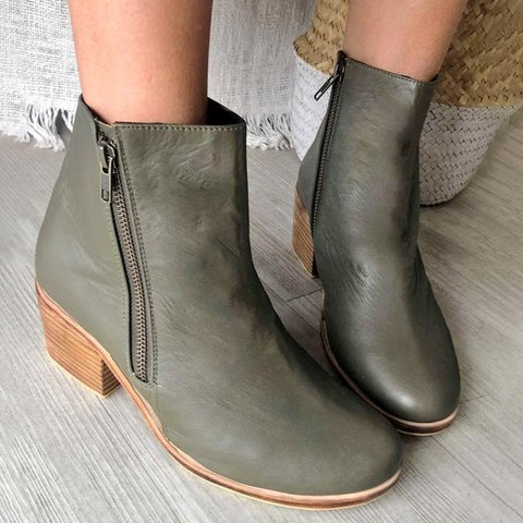 Pu Zipper Ankle Boots Simple Style Plus Size Booties