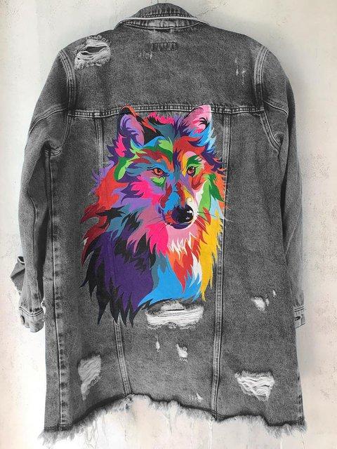 Denim Long Sleeve Animal Washed Coats