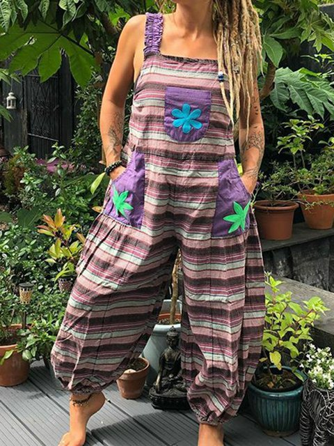 Plus Size Striped Romper Pockets Paneled Boho Jumpsuit