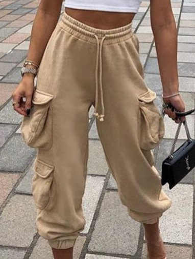 Cotton-Blend Casual Pockets Pants