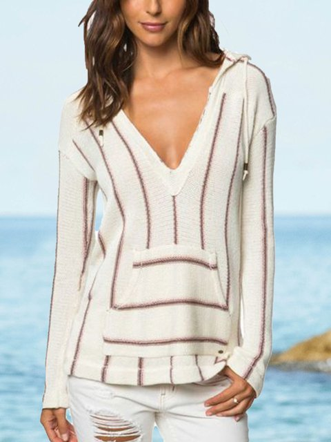 White Casual V Neck Knitted Stripes Sweaters