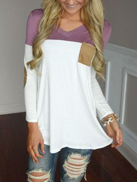 Purple White Solid Cotton V Neck Long Sleeve T-Shirts