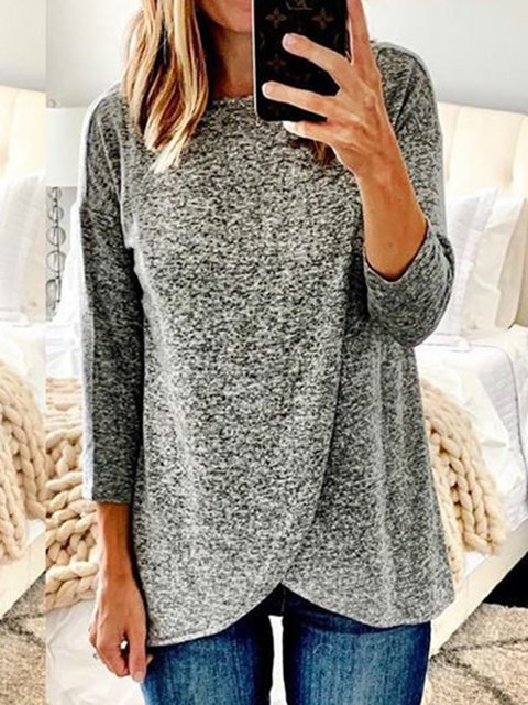 Asymmetrical 3/4 Sleeves Round Neck Casual T-Shirts