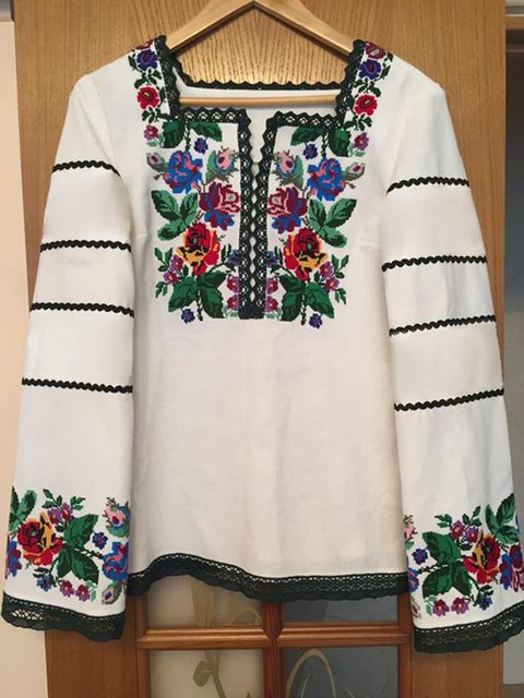 Plus Size Women Floral Printed Long Sleeves Vintage Blouses