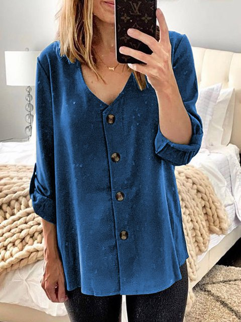 Women Long Sleeves V-Neck Buttoned Casual Blouses