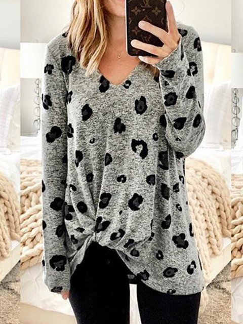 Plus Size Knot Front V-Neck Printed Casual T-Shirts