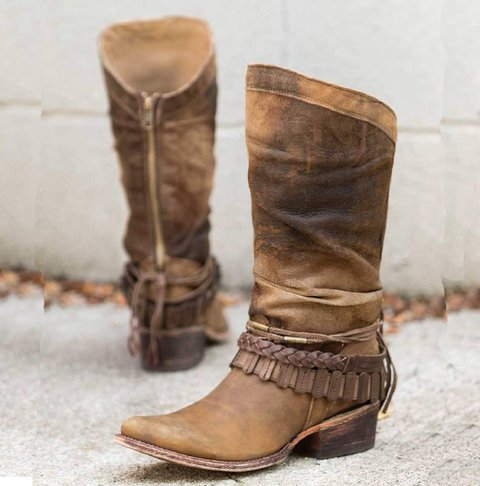 Women Casual Mid-Calf Zipper Low Heel Pu Boots