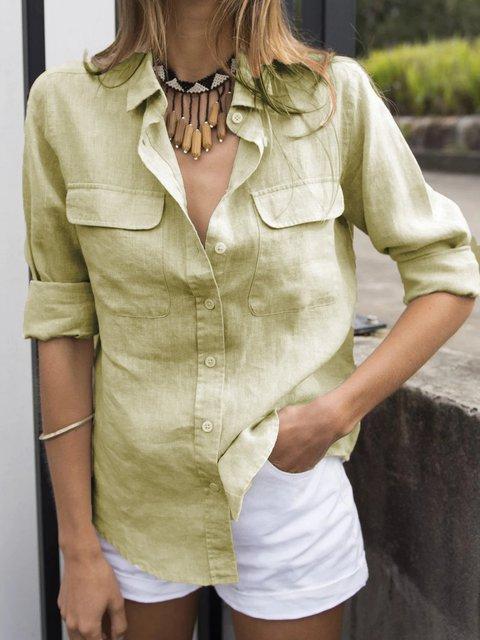 Shirt Collar Long Sleeve Casual Linen Shirts