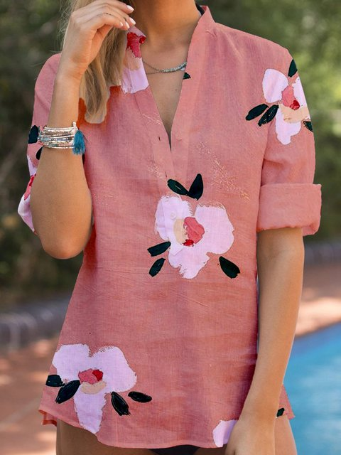 Plus Size Long Sleeve Sweet Floral Linen Shirts