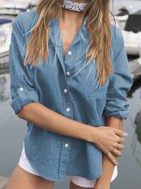 Plus Size Sweet Shirt Collar Long Sleeve Solid Shirts