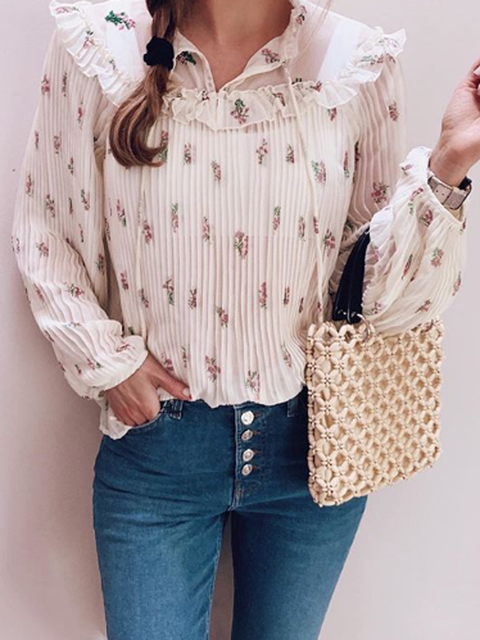 Apricot V Neck Floral Long Sleeve Shirts Tops