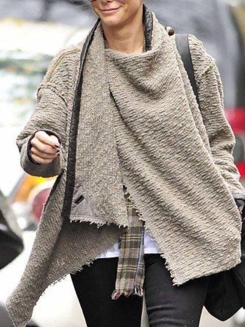 Gray Casual Turtleneck Cotton Outerwear