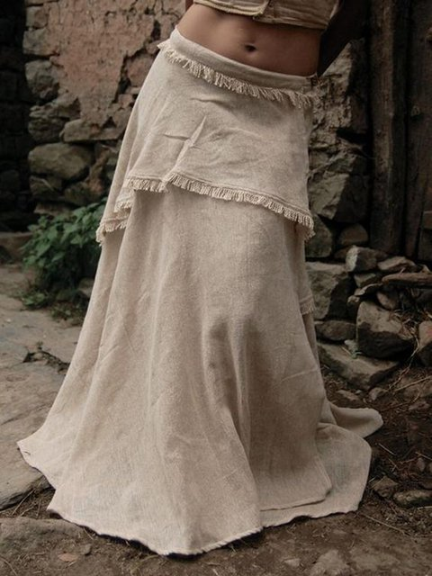 Linen Holiday Skirts Solid Casual Tiered Skirts