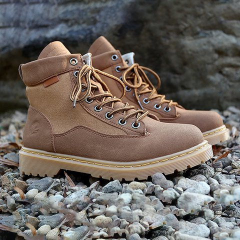 Plus Size Daily Low Heel Comfy Round Toe Lace Up Martin Boots