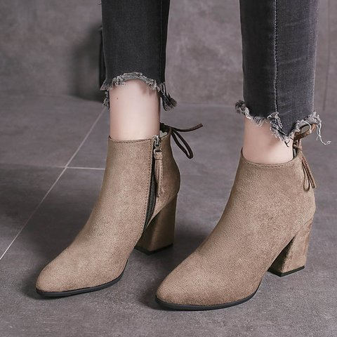 Plus Size Comfy Suede Chunky Heel Round Toe Ankle Boots