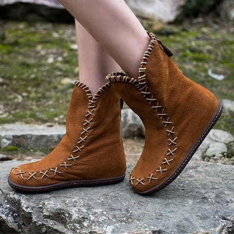 Plus Size Comfy Suede Flat Heel Ankle Booties