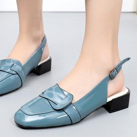 Bowknot Genuine Leather Square Toe Chuny Heel Shoes