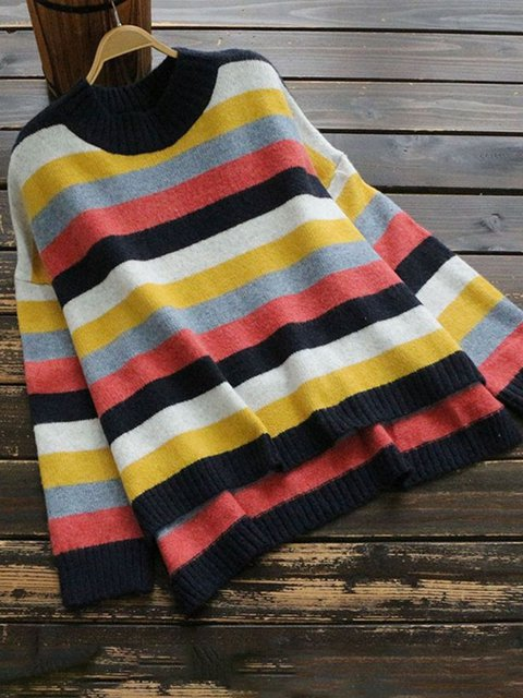 Plus Size Stripes Women Knitted Pullover Sweaters