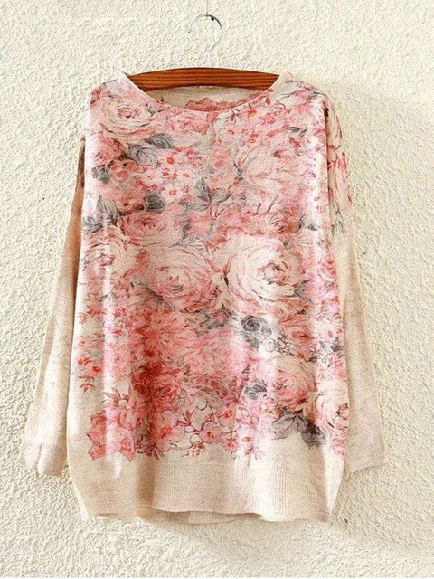 Plus Size Artwork Print Women Pullover Sweatshirts