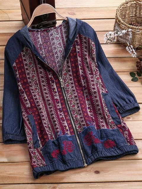 Red Casual Tribal Printed Jackets
