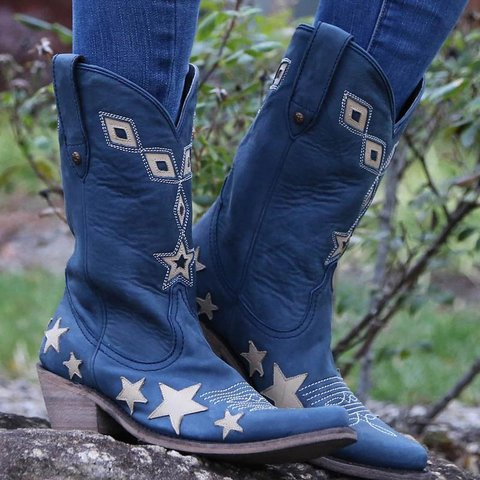 Women  Stylish Star Knee-High Booties Shoes
