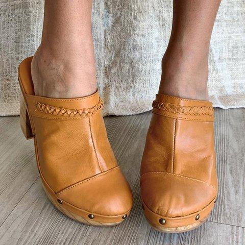 Chunky Heel Rivet Slip-On Clogs Closed Toe Heel Mules