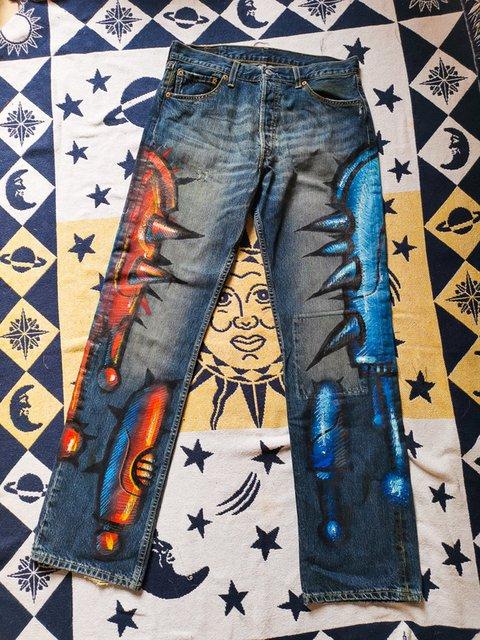 Plus Size Artwork Print Women Denim Pants Jeans